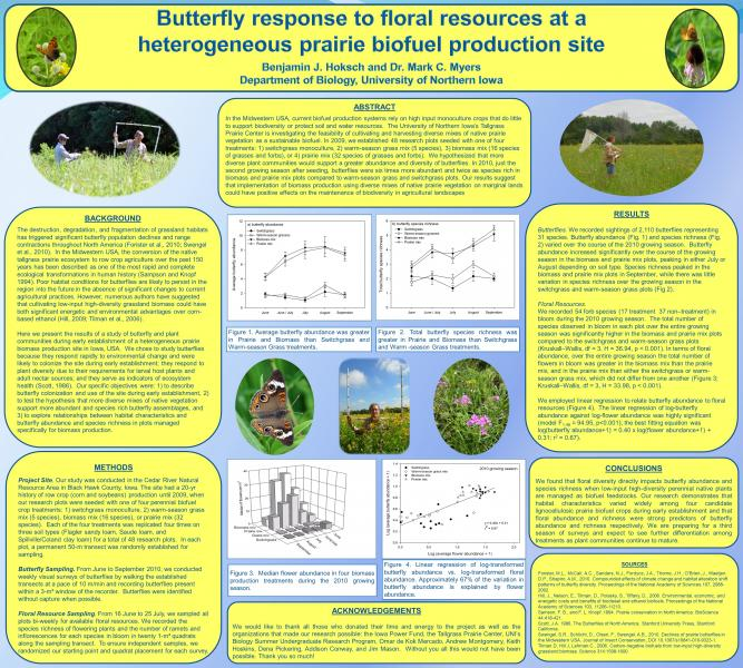 Butterfly response to floral resources at a heterogeneous prairie biofuel production site