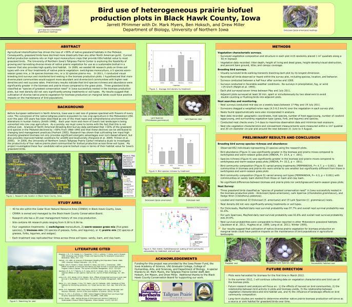 Bird use of heterogeneous prairie biofuel production plots in Black Hawk County, Iowa